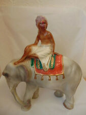 Stunning, Collectable, 1930's, Chalkware, Elephant & Mahout Ornament/Figurine