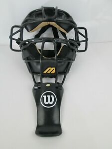 Mizuno Baseball Catchers Mask Traditional Black Tan with Wilson Throat Guard