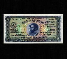 Ethiopia 2 Thalers 1933 P-6 AU-UNC little stain on back side * High Condition *