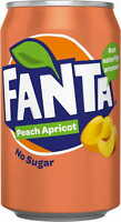 FANTA PEACH APRICOT FLAVOUR NO SUGAR - 330 ML CAN - FRUIT SODA COCA COLA COMPANY