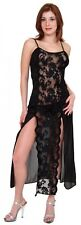 (S) Sexy Lingerie Long Black Toga Style Night Gown  see through Lace. w/ Panty S
