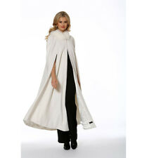 Womens Cashmere Opera Cape Cloak with Hood - Winter White Fox Trim 52""