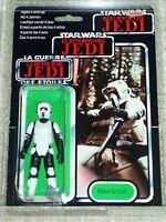 Vintage Star Wars 1984 AFA 80/80/85 BIKER SCOUT TRI-LOGO CARD MOC CLEAR BUBBLE!