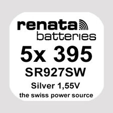5x Renata 395 Uhren-Batterie Knopfzelle SR927SW AG7 1,55V Silberoxid Neu