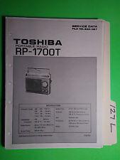 Toshiba rp-1700t service manual original repair book portable radio