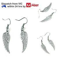 Silver Angel Wings Hook Dangle Earrings Ladies Girls Pair Ear Rings Jewelry Gift