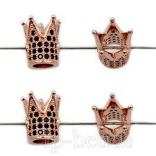 Zircon Micro Pave Crown Silver Gold Plated Connector Charm Beads Bracelet