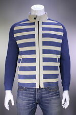 NWT New * KITON * $9200 Blue/Cream Suede Leather/Knit Bomber Jacket Coat 40/M