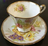 Sunningdale Roslyn Footed Cup and Saucer Set #8566~Large Floral Spray~Gold~Pink