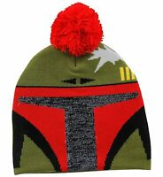 Adult Unisex Star Wars Bounty Hunter Boba Fett Knit Pom Beanie