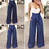Women Solid Palazzo Culottes Wide Leg Pants Casual Elastic Waist Long Trousers