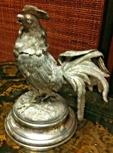Antique 19th Century Sheffield Silver Plate Rooster Inkwell