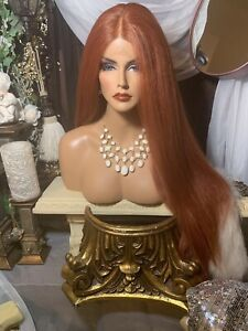 """NEW, 27"""" LONG, COPPER RED LACE FRONT W SWISS LACE PART WIG!"""