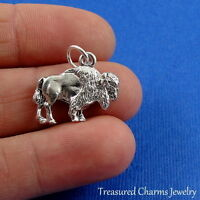 Silver BUFFALO American Bison Wyoming CHARM PENDANT