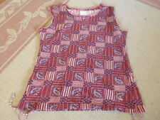 LADIES CUTE MULTI COLOURED URBAN YOGA COTTON SLEEVELESS TOP- SIZE 8/10/12 -CHEAP