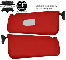 RED REAL LEATHER 2X SUN VISOR COVERS FOR MERCEDES SL C107 R107 1971-1989