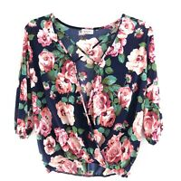 Gemstone L Large Womens Top Floral 3/4 Sleeve Blouse Criss Cross Front Navy Pink