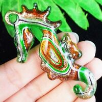 J87507 Green Orange Inlaid Lampwork Glass Seahorse Pendant Bead 68x36x7mm