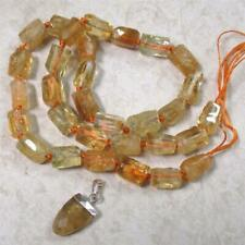 """One, 16+"""" strand of NATURAL, Citrine NEW rectangle CUT beads, + pendant"""