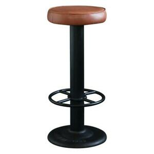 Pole Bar Stool Tan Seat with Black Metal Base 67 cm Commercial Kitchen