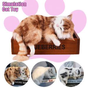 Realistic Lifelike Cat Plush Toy Simulation Stuffed Animal Fluffy Doll Kids New