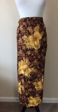 Hawaiin Brown Yellow Floral Sarong Skirt One Size Fits All
