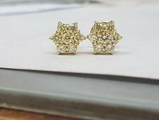 14ct Yellow Gold Diamond Cluster Earrings