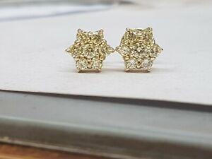 14ct Yellow Gold Diamond Cluster Earrings