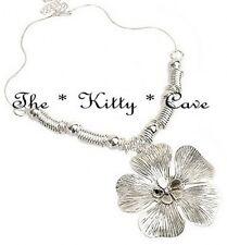 Silver Rhodium Plt Textured Poppy Pansy Flower Shabby Statement Pendant Necklace