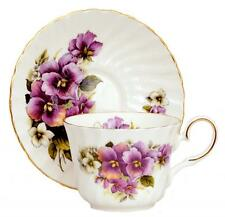 Purple Pansy Bone China Tea Cup and Saucer, Made In England