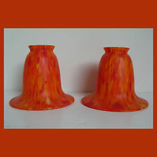 PAIR VINTAGE ART DECO MARMOREAN GLASS LIGHT SHADES for sconce table lamp