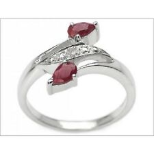 Real Diamond & Red Ruby Pear Sterling Silver Designer Ring Size 7  SALE