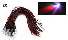 2X LED CABLATI 5mm RGB ultraluminosi 20000 MCD 12V con cavo pronto diodi cable