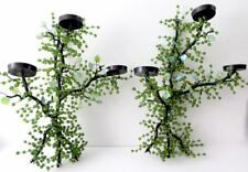 PAIR BLACK METAL CANDLE WALL SCONCES GREEN GLASS BEADS  LEAF EMBELLISHMENT