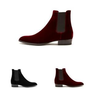 Mens Pointy Toe Suede Casual Pull On Ankle Chelsea Boot Chunky Pumps Dress Shoes