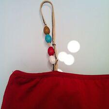 Top rosso con bretelline a perline tg S bershka motivi mango h&m zara forever21