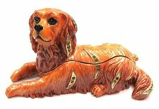 Rubydog Trinket Box Hand Painted Dog Jewelry Box with Crystals