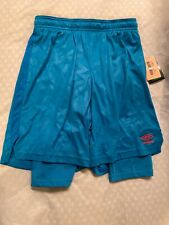 New Boy's Blue Umbro Soccer Athletic Shorts With Inner Shorts Size L 12-14