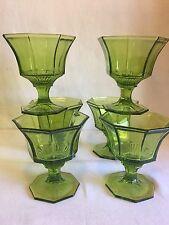 """6 Vintage Independence Green Octagonal Sherbet Champagne Glasses 4"""" EUC!"""