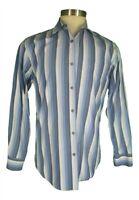 Paul Smith Mens Blue Stripe Long Sleeve Cotton Shirt L Recent Italy