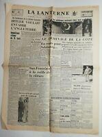 N539 La Une Du Journal La lanterne 23 juin 1945 Hitler envahir l'Angleterre
