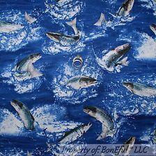 BonEful Fabric Cotton Quilt VTG Blue Trout FISH Bass Sea World Water Beach SCRAP