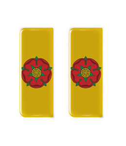 2x Lancashire County Flag - Gel Domed Number Plate Badges/Decals 107x42mm