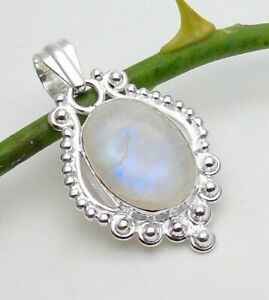 Moonstone Pendant Gemstone Jewellery 925 Silver OVERLAY Hand Made 43mm