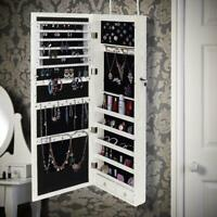 Wall/ Door Mounted Jewelry Cabinet Armoire Large Jewelry Box Organizer w/ Light