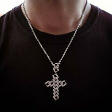 18k White Gold Diamond Tennis Chain w/ Cuban Link Cross Real Icy Choker Necklace
