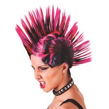 mohican Female Wig Pink Black Two Tone Punk Rocker Spike Fancy Dress