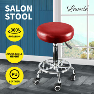 Levede Salon Stool Swivel Barber Stools Bar Chairs Lift Hairdressing Round Red