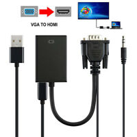 VGA Male To HDMI 1080P HD+ Audio TV AV HDTV Video Cable Converter Power Adapter