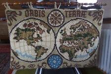 Wandteppich handgeknüpft, Weltkarte mit Aufhängeschiene